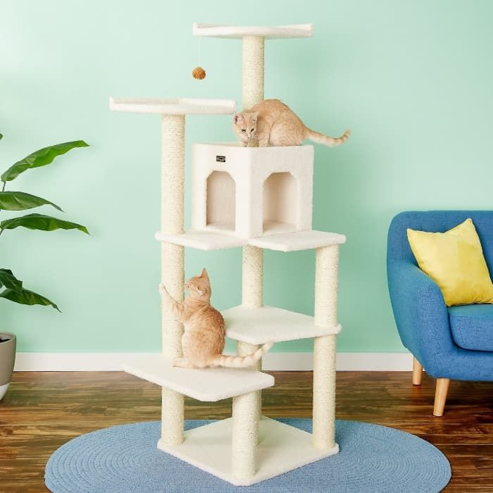 armarkat 68-in faux fleece cat tree and condo