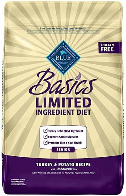 blue buffalo basics limited ingredient diet turkey and potato recipe for senior dogs