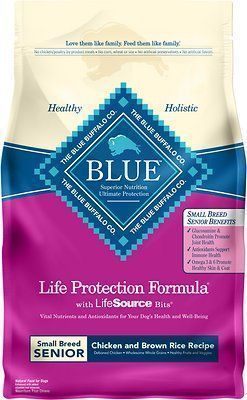 blue buffalo life protection formula small breed senior chicken and brown rice dry food