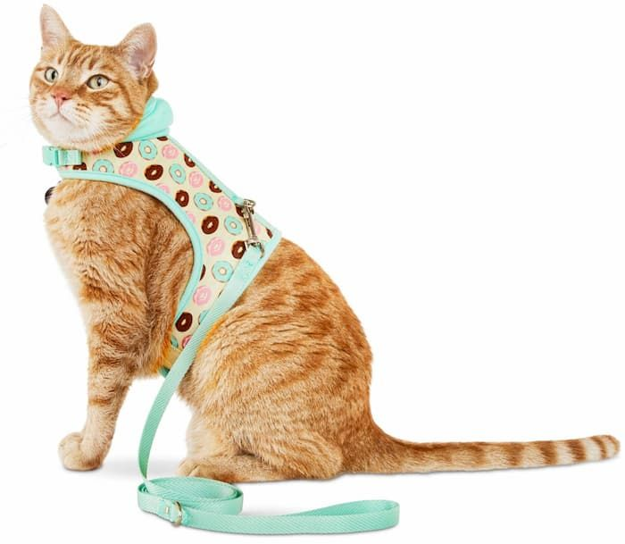 bond and co donut-print hooded cat harness and leash set