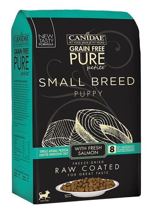 canidae grain free pure petite small breed puppy dry raw cated formula with salmon
