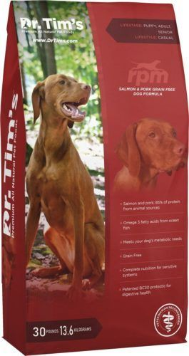 dr tims rpm grain-free salmon and pork dry dog food