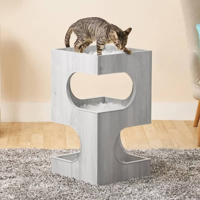 frisco 28-in modern cat tree and condo