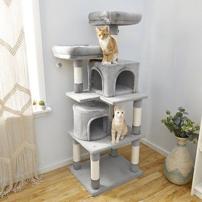 frisco 61-in faux fur cat tree and condo