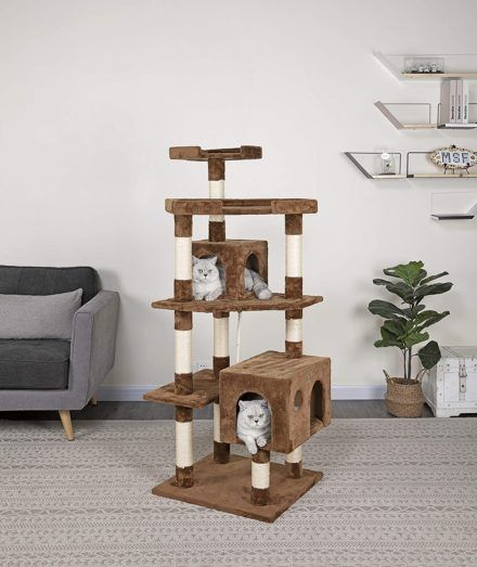 go pet club 61-in faux fur cat tree and condo