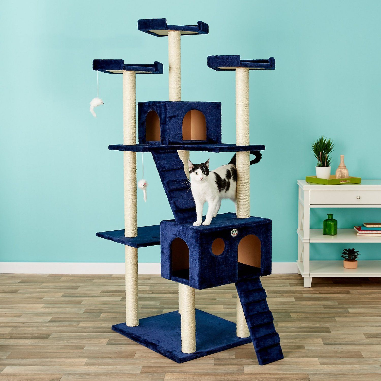 go pet club 62in faux fur cat tree and condo