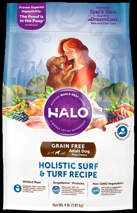 halo holistic surf and turf grain free adult dry dog food