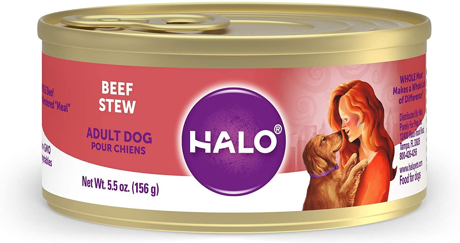 halo natural wet dog food adult stew
