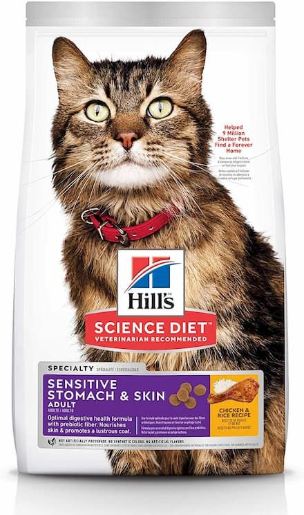 hill's science diet dry cat food, adult, sensitive stomach