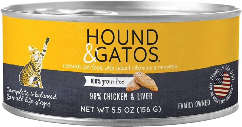 hound and gatos grain-free chicken canned cat food
