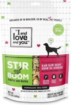 i and love and you stir and boom raw raw beef boom ba dinner grain-free dehydrated dog food