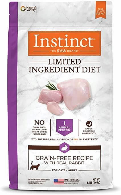 instinct limited ingredient diet grain-free recipe with real rabbit freeze-dried raw coated dry cat food