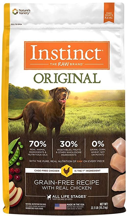 instinct original grain free recipe with real chicken freeze dried raw coated