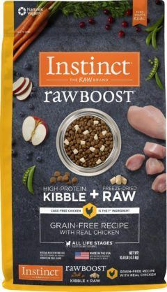 instinct raw boost grain-free recipe with real chicken and freeze-dried raw pieces dry dog food