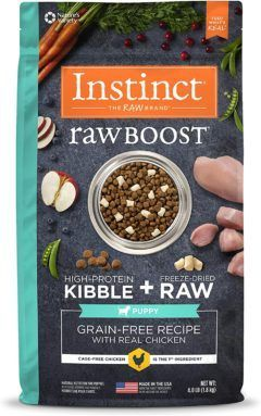 instinct raw boost puppy grain free recipe with real chicken freeze dried raw pieces dry dog food