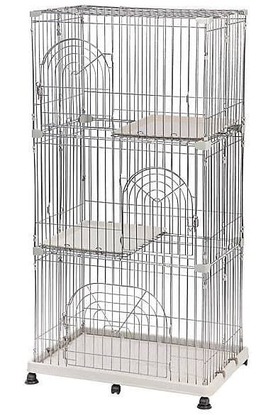 iris multi-story wire cat cage playpen white 2-story by iris