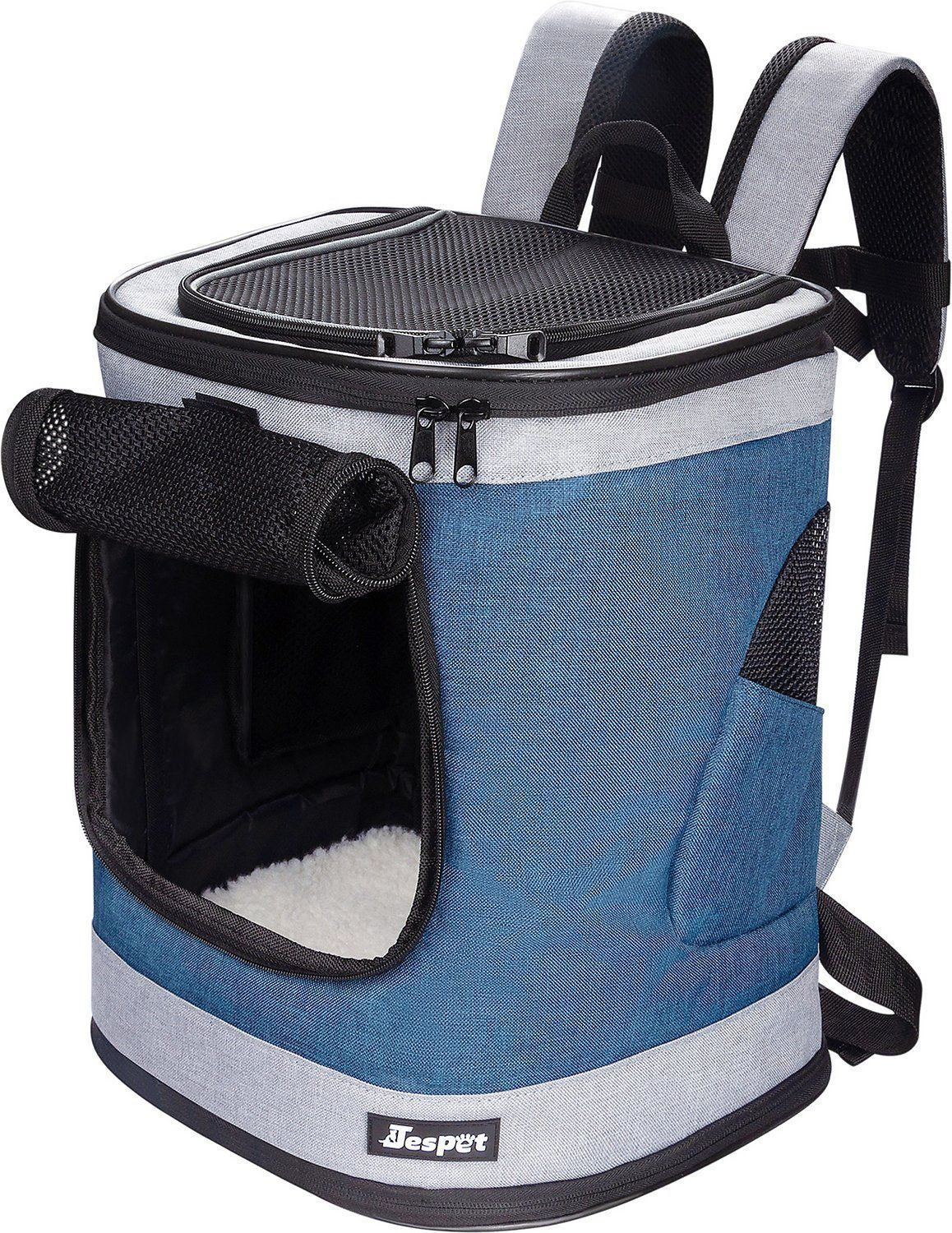jespet dog cat carrier backpack dark blue 17-in