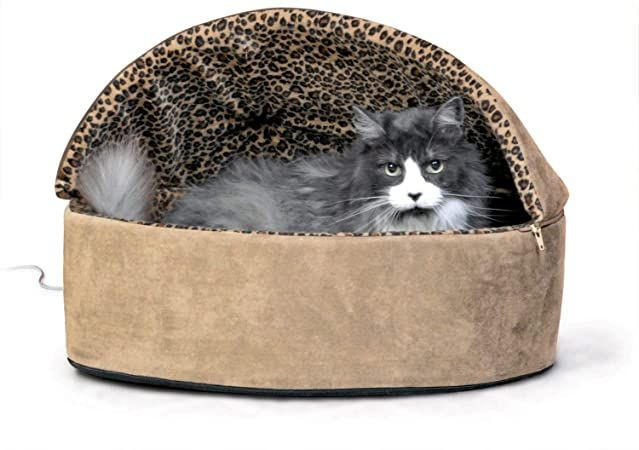k and h pet products thermo kitty heated deluxe hooded cat bed