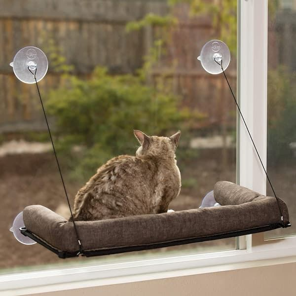 kh pet products ez mount deluxe bolster cat window perch