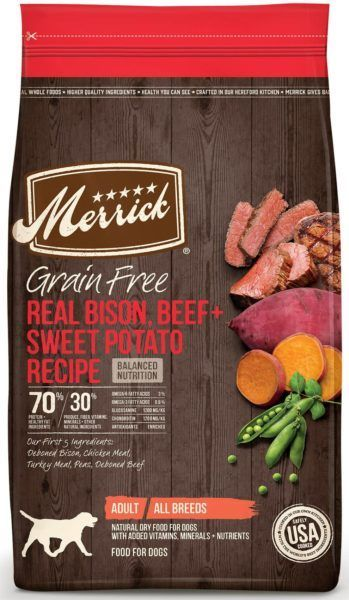 merrick grain-free bison beef and sweet potato recipe grain-free dry dog food