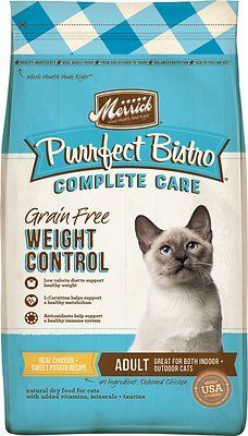 merrick purrfect bistro grain-free healthy weight recipe dry cat food