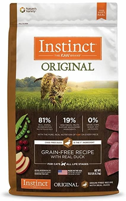 natures variety instinct original grain-free duck kibble for cats