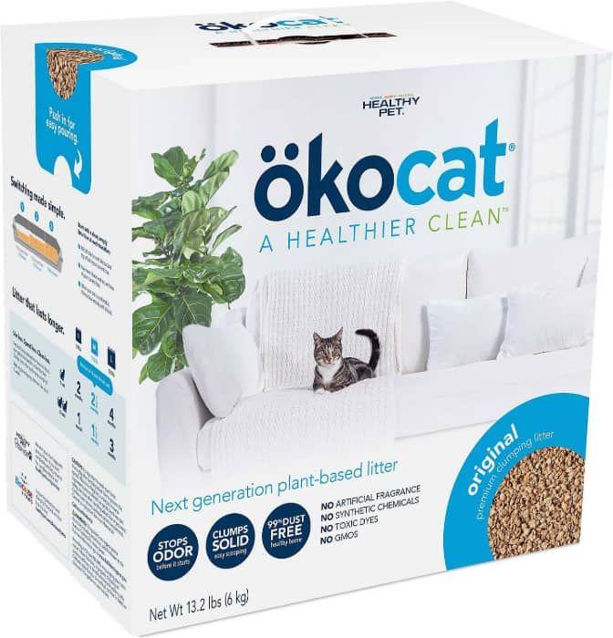 okocat original premium wood clumping cat litter