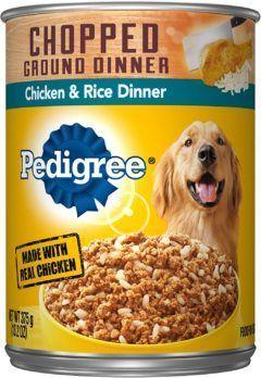 pedigree chopped ground dinner wet dog food chicken and rice