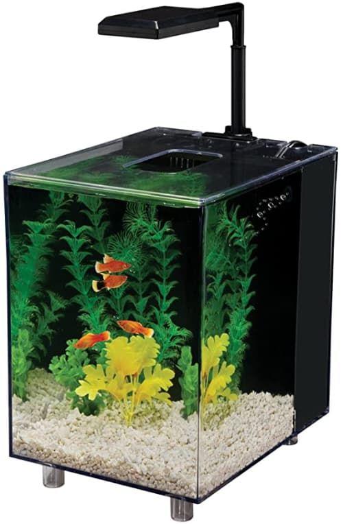 penn plax 2 gallon prism nano aquarium kit, black