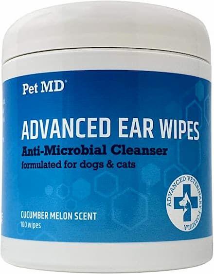 pet md advanced dog & cat ear cleaner wipes