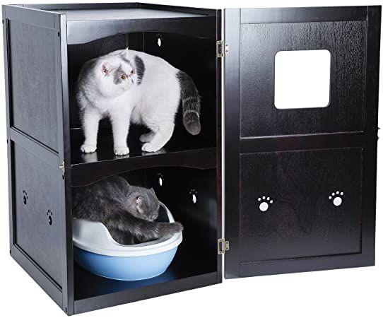 petsfit espresso double-decker pet house litter box enclosure night stand