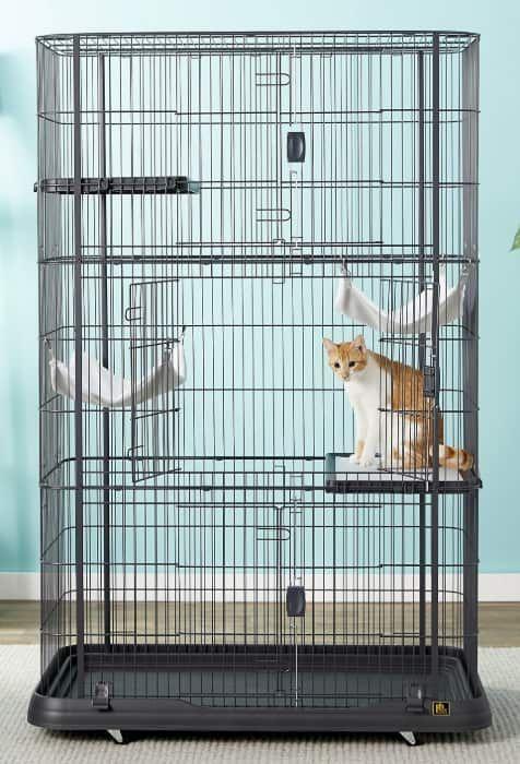 prevue pet products premium cat cage playpen black