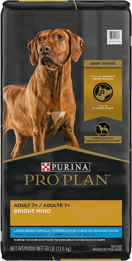 purina pro plan adult 7+ bright mind large breed chicken and rice formula dry dog food
