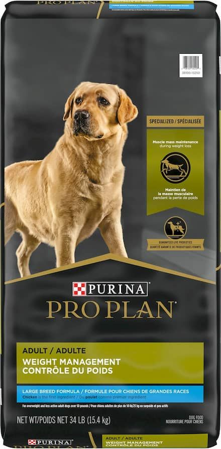 purina pro plan adult large breed weight management chicken and rice formula dry dog food