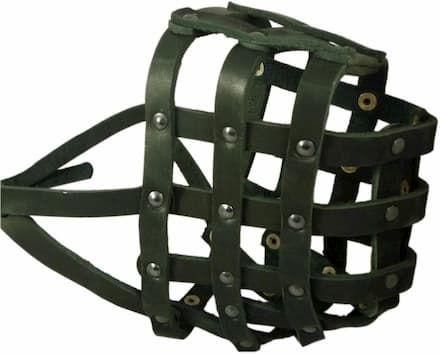 real leather dog basket muzzle