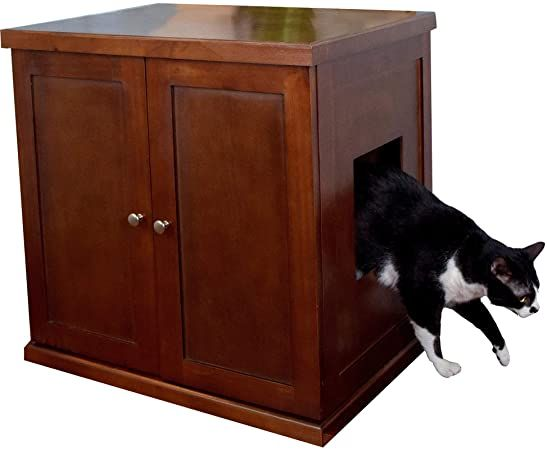 the refined feline litter box in mahogany