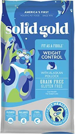 solid gold grain-free and gluten-free fit fiddle with fresh caught alaskan pollock adult dry cat food