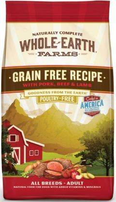 whole earth farms grain free pork beef and lamb recipe dry dog food